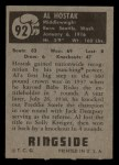 1951 Topps Ringside #92  Al Hostak  Back Thumbnail