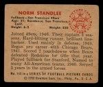 1950 Bowman #143  Norm Standlee  Back Thumbnail