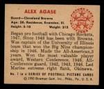 1950 Bowman #7  Alex Agase  Back Thumbnail