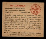 1950 Bowman #27  Sid Luckman  Back Thumbnail