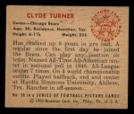 1950 Bowman #28  Clyde Turner  Back Thumbnail