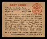 1950 Bowman #52  Elroy Hirsch  Back Thumbnail