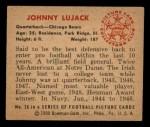 1950 Bowman #26  John Lujack  Back Thumbnail