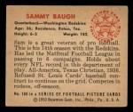 1950 Bowman #100  Sammy Baugh  Back Thumbnail