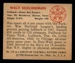 1950 Bowman #119  Walt Schlinkman  Back Thumbnail
