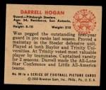 1950 Bowman #89  Darrell Hogan  Back Thumbnail