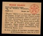 1950 Bowman #96  Frank Kilroy  Back Thumbnail