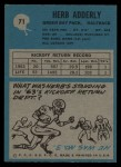 1964 Philadelphia #71  Herb Adderley   Back Thumbnail