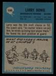 1964 Philadelphia #100  Larry Bowie   Back Thumbnail