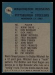 1964 Philadelphia #196   -  Bill McPeak  Redskins Play of the Year Back Thumbnail
