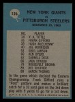 1964 Philadelphia #126   -  Allie Sherman Giants Play of the Year Back Thumbnail