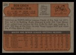 1972 Topps #338  Bobby Grich  Back Thumbnail