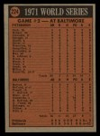 1972 Topps #224   -  Brooks Robinson / Mark Belanger 1971 World Series - Game #2 Back Thumbnail