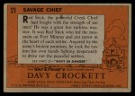 1956 Topps Davy Crockett #21 ORG  Savage Chief  Back Thumbnail