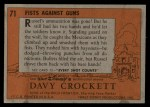 1956 Topps Davy Crockett #71 ORG  Fists Against Guns  Back Thumbnail