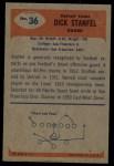 1955 Bowman #36  Dick Stanfel  Back Thumbnail