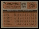 1972 Topps #258  Randy Hundley  Back Thumbnail