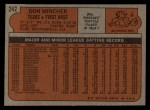 1972 Topps #242  Don Mincher  Back Thumbnail