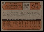 1972 Topps #247  Milt May  Back Thumbnail