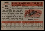 1956 Topps #18  Tank Younger  Back Thumbnail