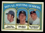 1972 Topps #86   -  Bobby Murcer / Tony Oliva / Merv Rettenmund AL Batting Leaders   Front Thumbnail