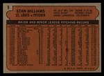 1972 Topps #9  Stan Williams  Back Thumbnail
