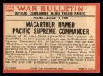 1965 Philadelphia War Bulletin #86   Living Legend Back Thumbnail