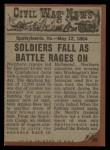 1962 Topps Civil War News #65   Flaming Death Back Thumbnail