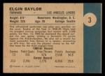 1961 Fleer #3  Elgin Baylor  Back Thumbnail