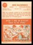 1963 Topps #17  Mike McCormack  Back Thumbnail