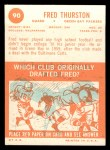 1963 Topps #90  Fred Thurston  Back Thumbnail