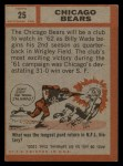1962 Topps #25   Bears Team Back Thumbnail