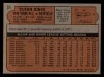 1972 Topps #31  Cleon Jones  Back Thumbnail