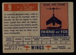 1952 Topps Wings #9   XF-91 Back Thumbnail