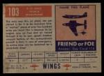 1952 Topps Wings #103   O-10 Leduc Back Thumbnail