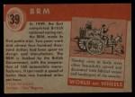 1954 Topps World on Wheels #39   BRM Back Thumbnail
