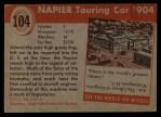 1954 Topps World on Wheels #104   Napier Touring Car 1904 Back Thumbnail