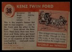 1954 Topps World on Wheels #38   Kenz Twin Ford Back Thumbnail