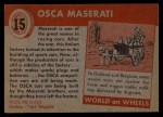 1954 Topps World on Wheels #15   Osca Maserati Back Thumbnail