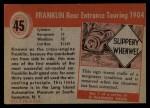 1954 Topps World on Wheels #45   Franklin Rear Entrance Touring 1904 Back Thumbnail