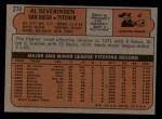 1972 Topps #274  Al Severinsen  Back Thumbnail