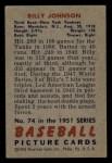 1951 Bowman #74  Billy Johnson  Back Thumbnail