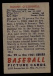 1951 Bowman #93  Danny O'Connell  Back Thumbnail