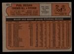 1972 Topps #485  Phil Regan  Back Thumbnail