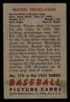 1951 Bowman #175  Wayne Terwilliger  Back Thumbnail