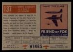 1952 Topps Wings #137   FJ2 North American Back Thumbnail