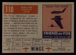 1952 Topps Wings #110   Nord 2200 Back Thumbnail
