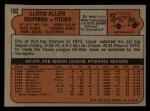 1972 Topps #102  Lloyd Allen  Back Thumbnail