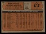 1972 Topps #161  Brock Davis  Back Thumbnail