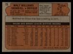 1972 Topps #15  Walt Williams  Back Thumbnail
